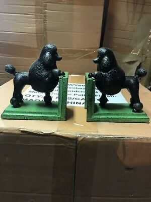 Set of 2 Heavy Cast Iron BLACK POODLE Vintage Style BOOKENDS Book Ends Show Cut