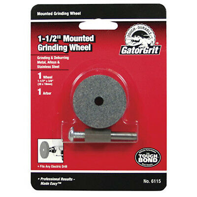 "Gator Grit 1-1/2"" Mounted Grinding Wheel 3/8""T, 1/4"" Arbor -No. 6115 4 pack"