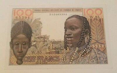 West African States 100 fr 1959  banknote world paper money UNC