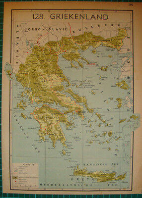 Old map Greece Crete 1939 kaart landkaart Griekenland