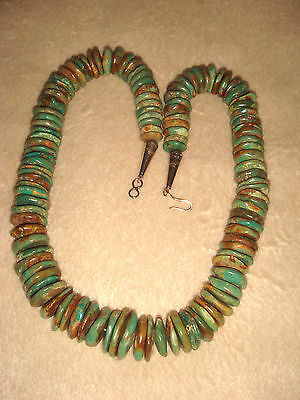 "Vtg. Old Pawn 19+"" Santo Domingo Pueblo Graduated Green Turquoise Bead Necklace"