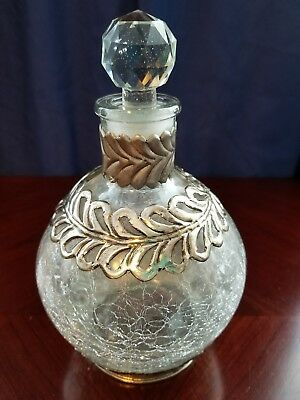 Crackle Glass Decanter Silver Metal Decor Glass Stopper Vintage Collectible