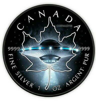 2017 1 Oz Silver UFO ,GLOW IN THE DARK Maple Leaf Coin,With Black Ruthenium $5.