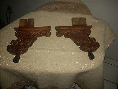 Vtg Antique Pair Carved Oak Wood Sofa Claw Foot Feet Legs W/rollers