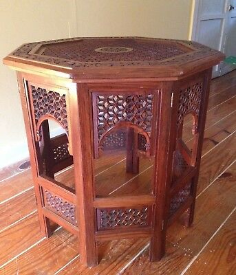Dark Brown Round Vintage Oriental Asian Carved Wood Coffee End Accent Table
