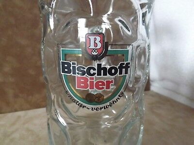 Vintage 1980s 1L Dimpled Glass German Beer Mug From Germany Bischoff Bier
