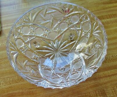 Vintage Heavy Mid Century Footed Large Lead Crystal Bowl Mid Century Modern