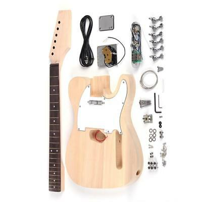 Tele Style LT Unfinished DIY Electric Guitar Kit Basswood Body for Gift