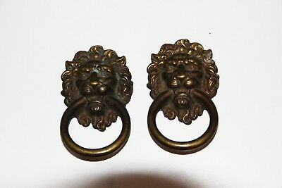 40 year Pair of Vintage  Solid Brass Lion Head Drawer Pulls