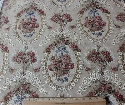 French Vintage Antique Roses, Baskets & Ribbons Jacquard Tapestry Fabric c1910