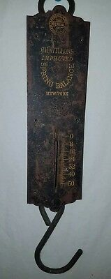 Antique 50 Pound Hanging Scale Chatillons Spring Balance Copper & Cast Iron