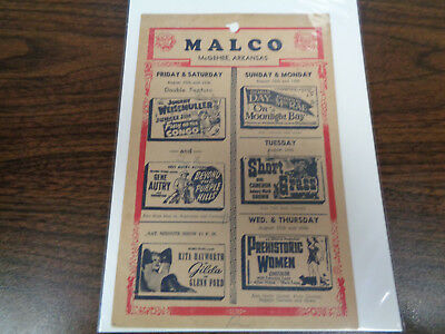 Malco Theatre Vintage Movie Ad Mcghee Arkansas Fury Of The Congo/ Gilda