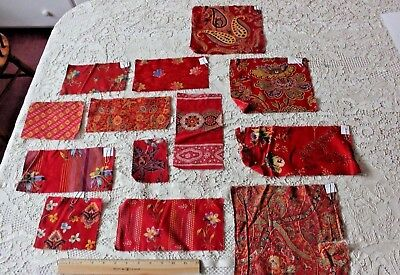 13 French Antique Original Turkey Red Cotton Printed Samples c1870~Design