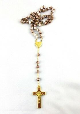 Brown Rosary Beads Necklace with Crucifix & Photo Frame