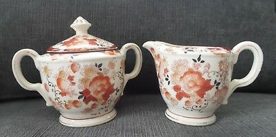 Vintage 1920's Moriyama Mori-Machi Sugar and Creamer Orange and Gold Pattern
