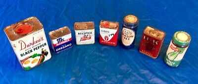 Vintage Lot of 7 Spices, Tins, Glass Bottles, Durkee's, H&K, French's, McCormick