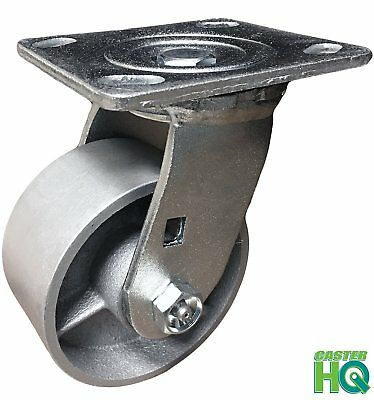 "CASTERHQ - 4"" Heavy Duty Swivel Caster - 4"" Semi Steel Cast Iron Toolbox Wheel"