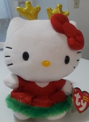 "Ty Beanie Babies Hello Kitty reindeer Christmas 6"" Plush. Holiday Hello Kitty."