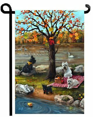 WESTIE SCOTTIE GARDEN FLAG West Highland Terrier Scottish Dog AUTUMN painting