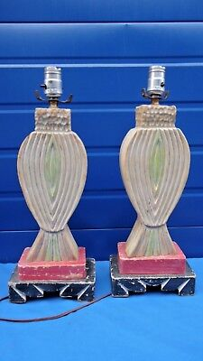 Vintage pair Spanish Revival Coronada Monterrey Mason Era California Lamps Wood