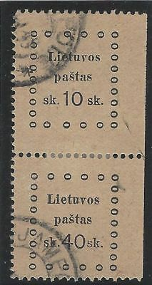 1919. 3rd KAUNAS ISSUE. 2nd Printing. SE-TENANT pair, 10s and 40s. Fine used.