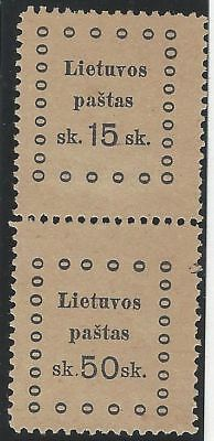 1919. 3rd KAUNAS ISSUE. 2nd Printing. SE-TENANT pair, 15s and 50s. Fine unused.
