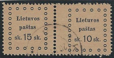1919. 3rd KAUNAS ISSUE. 2nd Printing. SE-TENANT pair, 15s and 10s. Scarce used.