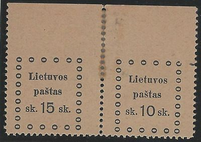 1919. 3rd KAUNAS ISSUE. 2nd Printing. SE-TENANT pair, 15s & 10s. Unused/imperf.
