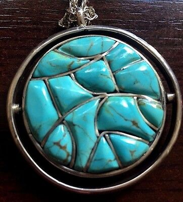 Vintage ZUNI Turquoise and Mother of Pearl Spinner Pendant Sterling Silver
