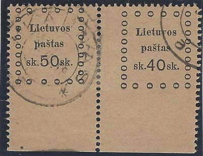1919. 3rd KAUNAS ISSUE. 2nd Printing. SE-TENANT pair, 50s and 40s. Used/imperf.