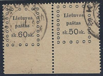 1919. 3rd KAUNAS ISSUE. 2nd Printing. SE-TENANT pair, 60s and 50s. Used/imperf.