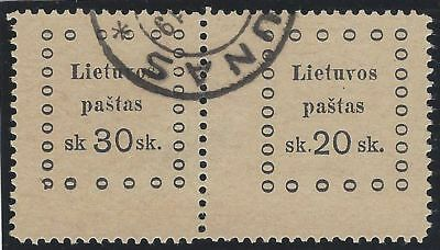1919. 3rd KAUNAS ISSUE. 2nd Printing. SE-TENANT pair, 30s and 20s. Fine used.