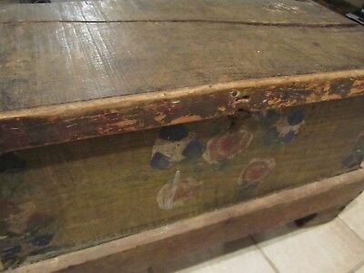 Primitive Antique Wood Tool Box Chest Original Hand Painted Folk Art Old