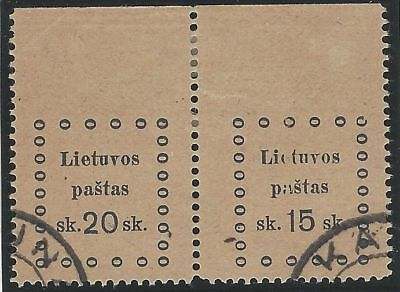 1919. 3rd KAUNAS ISSUE. 2nd Printing. SE-TENANT pair, 20s and 15s. Used/imperf.
