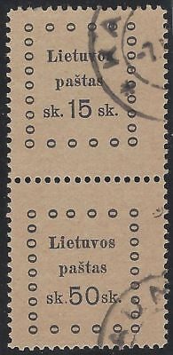 1919. 3rd KAUNAS ISSUE. 2nd Printing. SE-TENANT pair, 15s and 50s. Fine used.