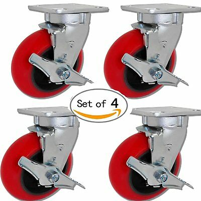 """CASTERHQ-4"""" x 2"""" Swivel Caster Set of 4 W/Brakes - Red Crowned Poly on Iron"""