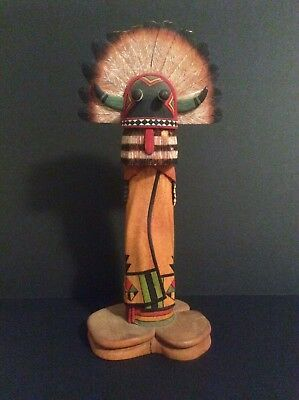 Older Contemporary Hopi  Wuyaktaywa Kachina Sculpture by Wayne Poleahla