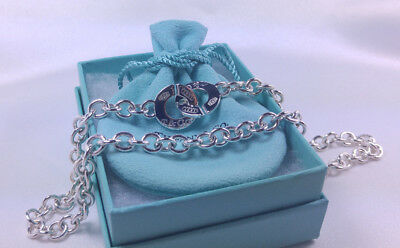 NEW Tiffany & Co. 1837 Circle Clasp Round Chain Link Necklace Pendant Silver 925