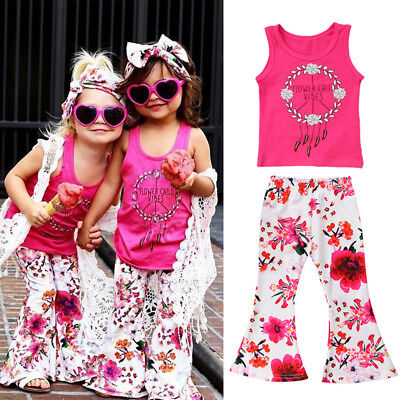 2Pcs Kids Baby Girl Lace Floral Top T-shirt Long Pants Outfit Clothes Summer