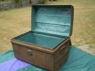 vintage metal trunk rustic rusty ship style or railway storage trunk 1960s style