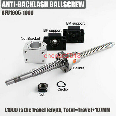 C7 Ballscrew SFU1605 Ballnut Length 1000mm Rolled Ball Screw BK/BF12 End Support