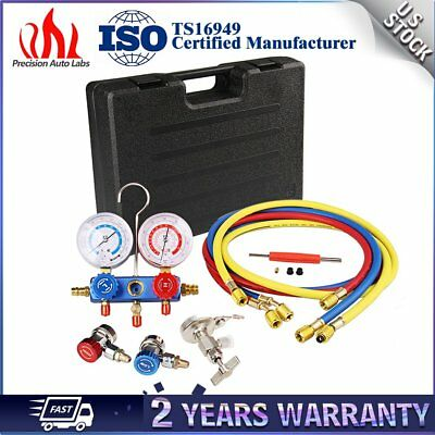 R134a R12 R22 Manifold Gauge Set HVAC AC Refrigeration Test w/5ft Charging Hoses