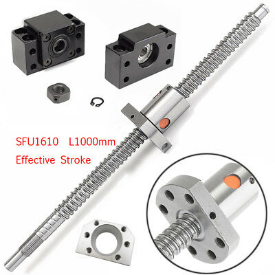 L1000mm Ballscrew SFU1610 C7 Accuracy Ballnut BK/BF12 End Support CNC Router Kit