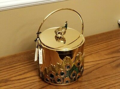 Near MINT - RARE GOLD PLATED - ST JOHN HOME Peacock Ice Bucket