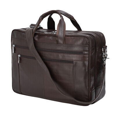 "Luxury Real Leather 17.3"" Laptop Briefcase Men's Messenger Shoulder Bag Handbag"