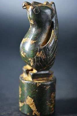 Unique Chinese old jade hand carved  bird seal  A20