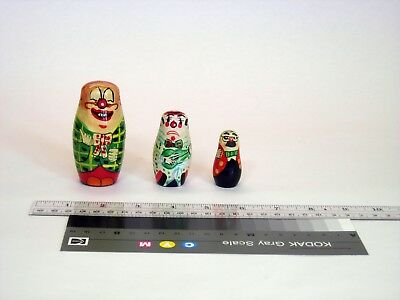 small clown hand painted vintage wooden nesting doll set