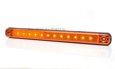 LED UMRISSLEUCHTE 238mm GELB 12 LED - 12/24 VOLT SUPER FLACHE 10,4mm + REFLEKTOR