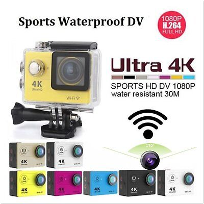 H9 WiFi Sports DV Waterproof 2.0'' LCD 4K HD 170o Action Camera Camcorder ADC