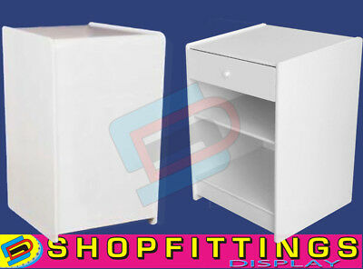 WHITE SHOP DISPLAY TILL UNIT 600mm RETAIL TILL BLOCK with DRAWER and SHELF